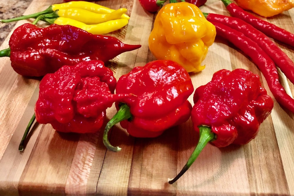 7 Pot primo peppers on cutting board