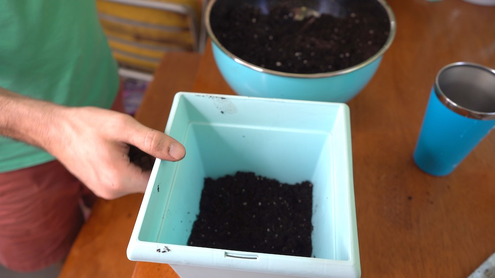 Pre filled pot with soil